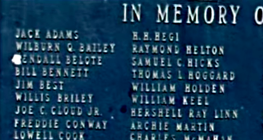 Screen shot of a plaque commemorating those who died in the 1965 accident